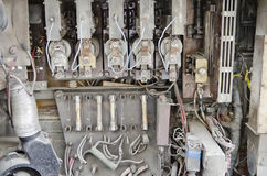 Electrical contacts in the trolleybus Stock Image