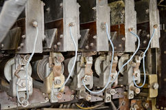 Electrical contacts in the trolleybus Stock Photography