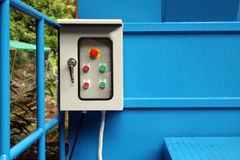 Electrical control box outside the building. Electrical control box outside the building in the garden royalty free stock image