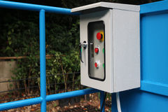 Electrical control box outside the building. Electrical control box outside the building in the garden stock photo