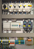 Electrical control cubicle with electrical devices Royalty Free Stock Photo