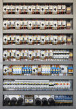 Electrical control panel. Electrical panel at a assembly line factory. Controls and switches Royalty Free Stock Photos