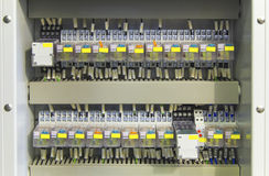 Electrical control panel with relays and wires Stock Images