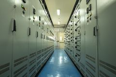 Electrical control room Circuit boards in industrial plants. In Asia royalty free stock images