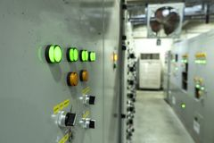 Electrical control room Circuit boards in industrial plants. In Asia royalty free stock photo