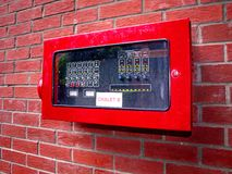 Electrical Control Unit. Red colored Electrical Control Unit at resort chalet royalty free stock images