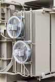 Electrical cooling fans. Attached to the radiator fin of the transformer royalty free stock image