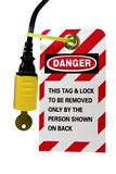 Electrical cord lock out tag. Lock out tag out sign and lock on an electrical cord isolated with clipping path at original size Stock Photo