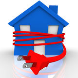 Electrical Cord Strangling House Home Power Energy. A blue house or home is strangled or squeezed by a red electrical cord to symbolize reliance on electricity Stock Photos