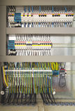 Electrical cubicle with components and wires Royalty Free Stock Photo