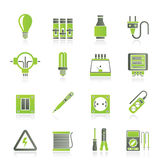 Electrical devices and equipment icons Stock Image