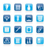 Electrical devices and equipment icons. Vector icon set stock illustration