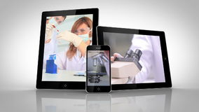 Electrical devices showing different lab assistants. On white background stock footage