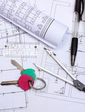 Electrical diagrams, accessories for drawing and home keys Stock Photos