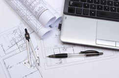 Electrical diagrams, accessories for drawing and laptop Stock Photography