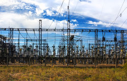Electrical distribution station, transformers, high-voltage line Stock Photo