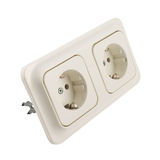 Electrical double jack socket isolated Royalty Free Stock Photos
