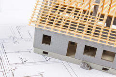 Electrical drawings and diagrams for project and house under construction, building home concept Stock Image