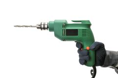 Electrical drill. Isolated on a white Royalty Free Stock Image