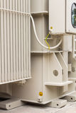 Electrical earthing. Or grounding of power transformer, focusing on earthing terminal and earthing cable of the control box Royalty Free Stock Image