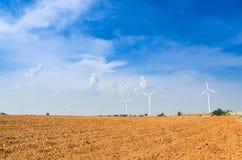 Electrical Eco power maker wind turbine in cassava farm Stock Photo