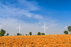 Electrical Eco power maker wind turbine in cassava farm  Stock Photos