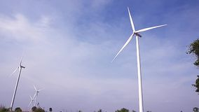 Electrical Eco power maker wind turbine cassava farm - Huay bong, Dan Khun Tod, Nakhon Ratchasima, Thailand stock video