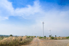 Electrical Eco power maker wind turbine in cassava farm Stock Images