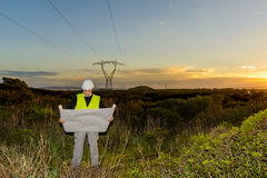 Electrical Engineer Controls the Power Line. Stock Photography