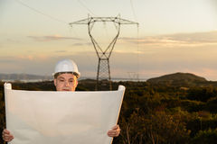 Electrical Engineer Controls the Power Line. Stock Photos