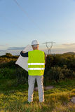 Electrical Engineer Controls the Power Line. Stock Image