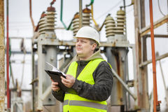 Electrical Engineer with folder Stock Photos