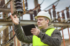 Electrical Engineer gesturing Stock Images