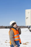 Electrical engineer inspect electric line Stock Photography
