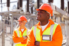 Electrical engineer substation Royalty Free Stock Photography