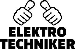 Electrical engineer thumbs german. Electrical engineer thumbs with german word Royalty Free Stock Images