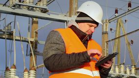 Electrical Engineer working with tablet PC stock footage