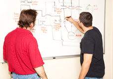 Electrical Engineering Class. Electrical engineering student draws a diagram of a circuit on the white board while teacher looks on royalty free stock photography