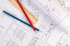 Electrical engineering drawings, pencil and ruler. Electrical engineering drawings printing, pencil and ruler Royalty Free Stock Images