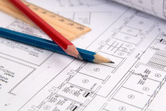 Electrical engineering drawings, pencil and ruler. Electrical engineering drawings printing, pencil and ruler Stock Images
