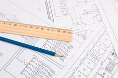 Electrical engineering drawings, pencil and ruler. Electrical engineering drawings printing, pencil and ruler Royalty Free Stock Image
