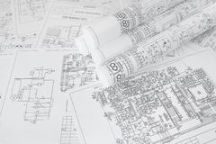 Electrical engineering drawings printing. Scientific development. stock photo