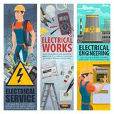 Electrical engineering electrician service banners. Electrical service works banners of electrician engineer with electric repair equipment, Vector man with royalty free illustration