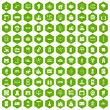 100 electrical engineering icons hexagon green Stock Photos