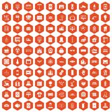 100 electrical engineering icons hexagon orange Royalty Free Stock Photo