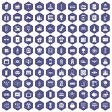 100 electrical engineering icons hexagon purple. 100 electrical engineering icons set in purple hexagon isolated vector illustration Royalty Free Stock Images