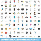 100 electrical engineering icons set, cartoon. 100 electrical engineering icons set in cartoon style for any design vector illustration royalty free illustration