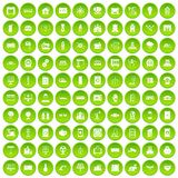 100 electrical engineering icons set green circle. Isolated on white background vector illustration Stock Photo