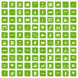 100 electrical engineering icons set grunge green. 100 electrical engineering icons set in grunge style green color isolated on white background vector stock illustration