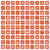 100 electrical engineering icons set grunge orange. 100 electrical engineering icons set in grunge style orange color isolated on white background vector Stock Photo